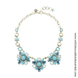 NEW!! WHBM Cerulean Faceted Triple Flower Necklace